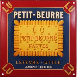 Plaque émaillée bombée : PETIT-BEURRE LU.