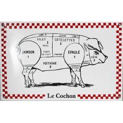 Plaque émaillée : LE COCHON.