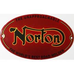 Plaque émaillée bombée 16 x 10cm ovale : NORTON