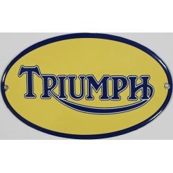Plaque émaillée bombée 16 x 10cm ovale : TRIUMPH.