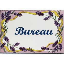 Plaque de porte émaillée plate de 10,5 x 7cm décor lavandes : BUREAU.