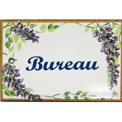 Plaque de porte émaillée plate de 10,5 x 7cm décor glycines : BUREAU.
