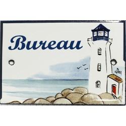 Plaque de porte émaillée plate de 10,5 x 7cm décor phare : BUREAU.