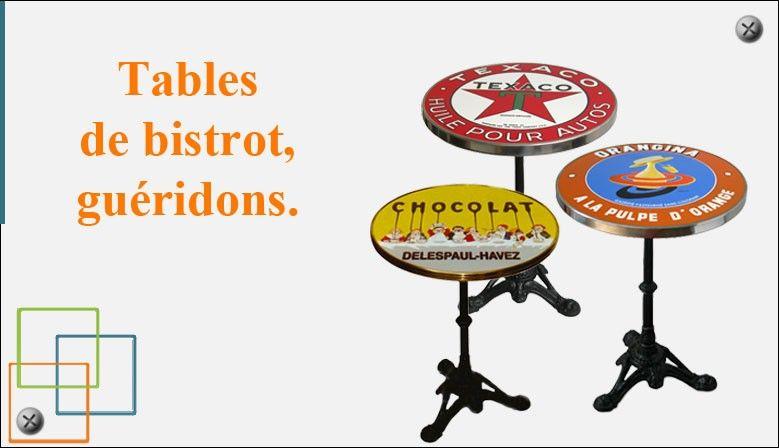 Tables de bistrot, guéridons