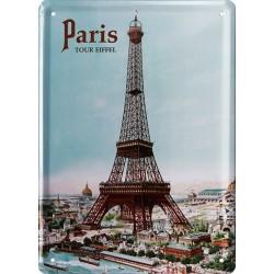Plaque métal publicitaire 15x21cm plate : Paris, Tour Eiffel.