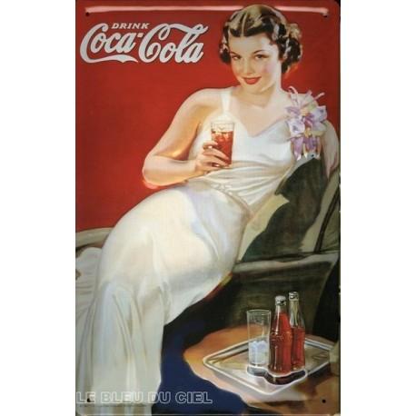 Plaque publicitaire 20x30cm bombée en relief Coca Cola.