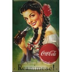 Plaque métal publicitaire 20x30cm bombée en relief : Coca Cola Reanimese.