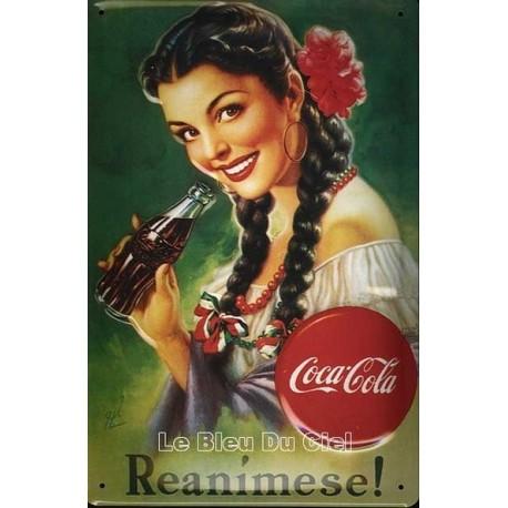 plaque publicitaire 20x30cm  bombée en relief Coca Cola Reanimese.