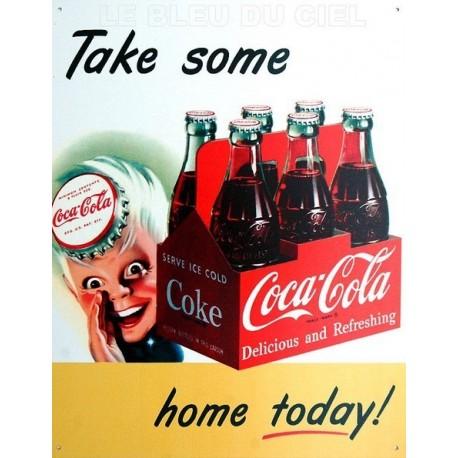 Plaque publicitaire 30x40cm plate Coca Cola Take Some.