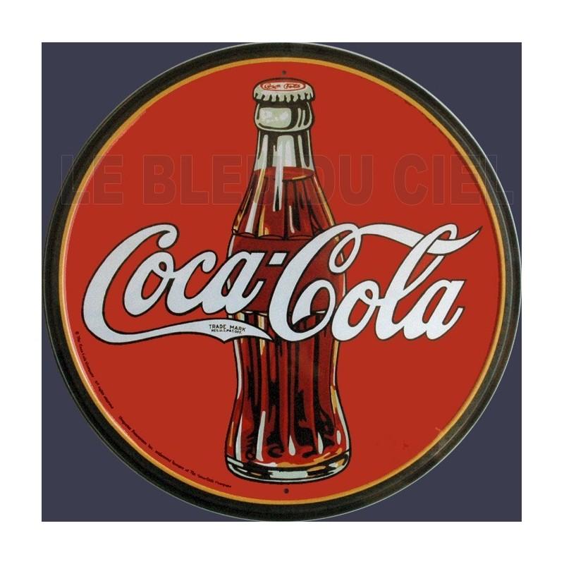 plaque m tal publicitaire diam 30cm plate coca cola. Black Bedroom Furniture Sets. Home Design Ideas