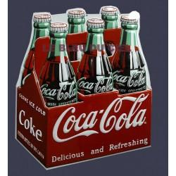 Plaque métal publicitaire 29x35cm relief découpée : Coca Cola