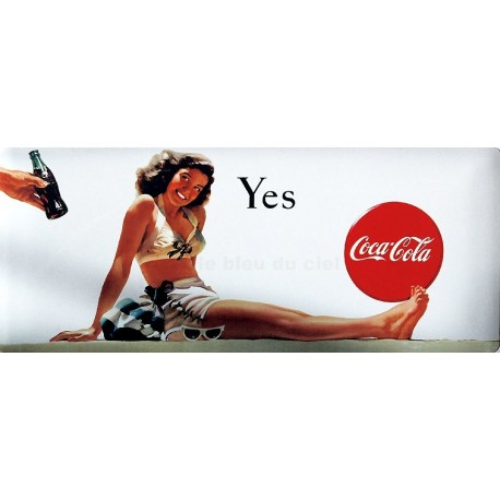 Plaque publicitaire 18 x 45 cm : YES Coca cola.