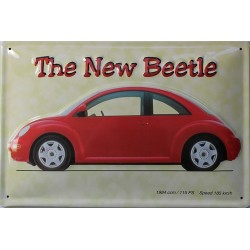 Plaque métal  publicitaire 20 x 30 cm bombée en relief : The New Beetle