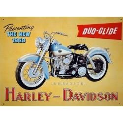 Plaque métal publicitaire 30 x 40 cm relief : Harley Davidson Duo Glide.