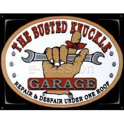 Plaque publicitaire 30 x 40 cm The busted knucle GARAGE.