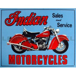 Plaque métal publicitaire plate 30 x 40 cm : INDIAN MOTORCYCLES Sales and Service.