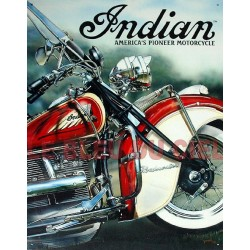 Plaque métal publicitaire plate 30 x 40 cm : INDIAN AMERICA'S PIONEER MOTOCYCLE