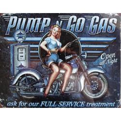 Plaque métal publicitaire plate 30 x 40 cm : Pump n Go Gas.