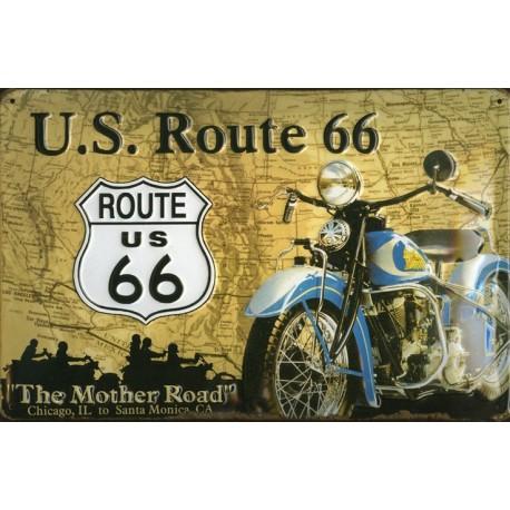 Plaque publicitaire 20 x 30 cm bombée en relief ROUTE US 66