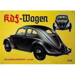 Plaque métal publicitaire 30 x 40 cm relief : Wolkswagen 1938.