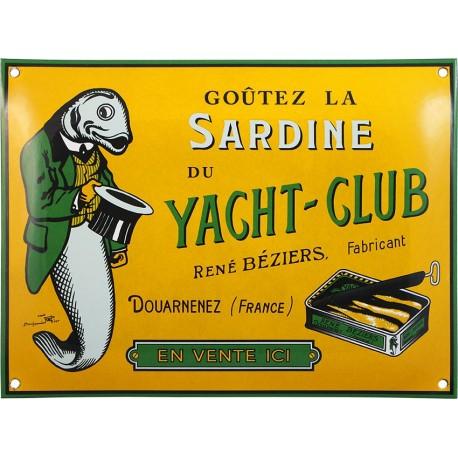 Plaque émaillée bombée 24 x 32 cm Sardine du yacht club Douarnenez