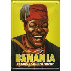 Plaque métal  publicitaire 15x21cm plate : Banania Exquis Déjeuner Sucré.
