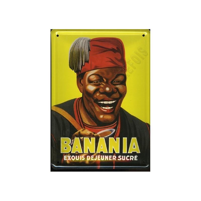 plaque m tal publicitaire 15x21cm plate banania exquis d jeuner s. Black Bedroom Furniture Sets. Home Design Ideas