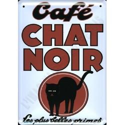 Plaque métal publicitaire 15x21cm plate : Café du Chat Noir.