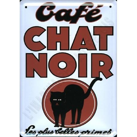 Plaque publicitaire bombée 15 x 21 cm Café du Chat Noir.