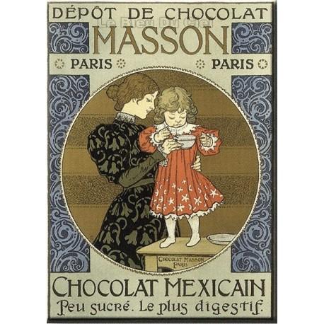 Plaque publicitaire plate 15 x 21 cm Chocolat Masson.