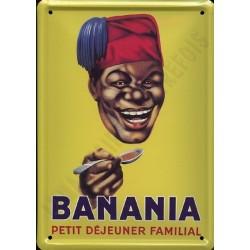 Plaque métal publicitaire 15x21cm bombée :  Banania Petit Déjeuner Familial