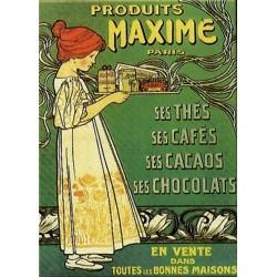 Plaque métal publicitaire 15x21cm bombé : Produits Maxime Paris.