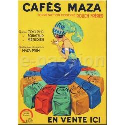 Plaque métal  publicitaire 15x21cm bombée : Cafés Maza.