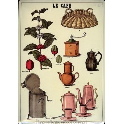 Plaque métal publicitaire 15x21cm bombée : LE CAFÉ.