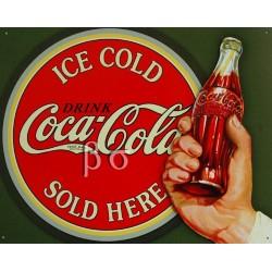 Plaque métal publicitaire 30 x 40 cm plate : Ice cold Coca Cola.