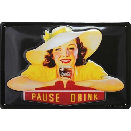 plaque publicitaire 20x30cm  bombée en relief  girl Coca cola.