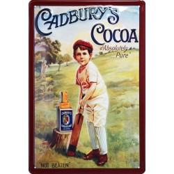 Plaque métal publicitaire 20 x 30 cm bombée et relief : Cadbury's Cocoa