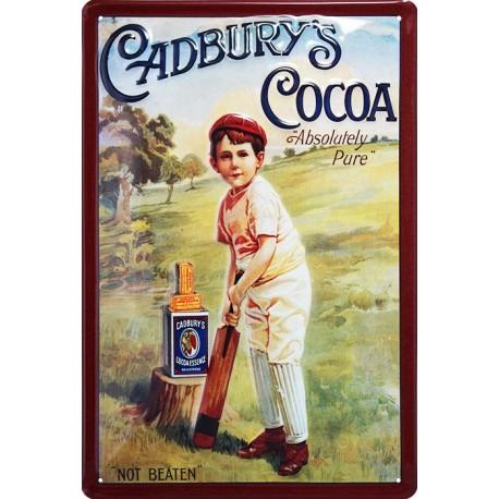 Plaque publicitaire 20 x 30 cm bombée et relief cadbury's Cocoa.