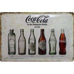 Plaque métal publicitaire 20 x 30 cm bombée en relief : Bouteilles Coca Cola.
