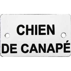 Plaque humoristique émaillée bombée 6 x 10 cm: CHIEN DE CANAPÉ