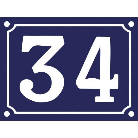 Numéro de Rue émaillé 15x20cm noir (1, 2, 3, 4 chiffres ou 1, 2, 3 chiffres + bis, ter). Délai + -15 jours