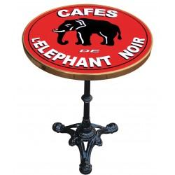 Table de bistrot émaillée en relief diamètre 55 cm : Café éléphant noir