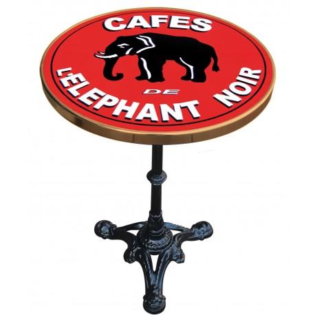 Décoration int/extérieure : Table bistrot émaillée en relief diamètre 60 cm : Vache qui Rit