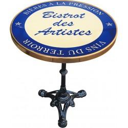 Table de bistrot émaillée en relief diamètre 60 cm : Bistrot des artistes bleu