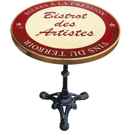 Décoration int/extérieure : Table bistrot émaillée en relief diamètre 60 cm : Bistrot des artistes rouge