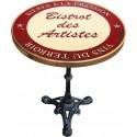 Table de bistrot émaillée en relief diamètre 60 cm : Bistrot des artistes rouge