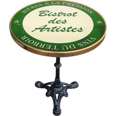 décoration int/extérieure  : table bistrot émaillée relief diamètre 60 cm : Bistrot des artistes vert