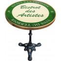 Table de bistrot émaillée relief diamètre 60 cm : Bistrot des artistes vert