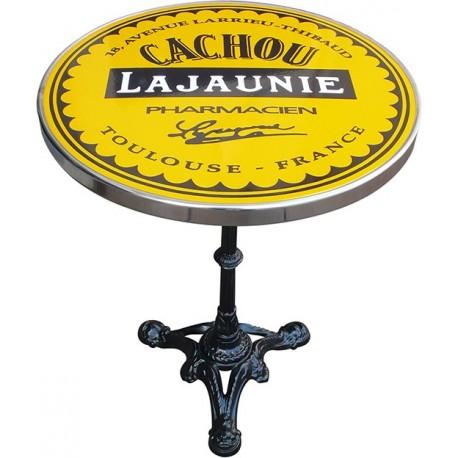 décoration int/extérieure : table bistrot émaillée relief diamètre 60 cm : Cachou Lajaunie