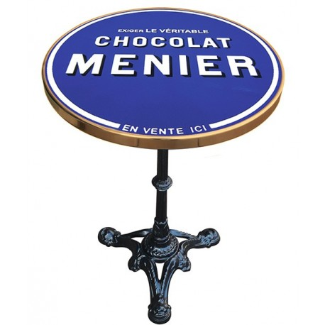 Décoration int/extérieure : Table bistrot émaillée en relief diamètre 55 cm : Chocolat Menier